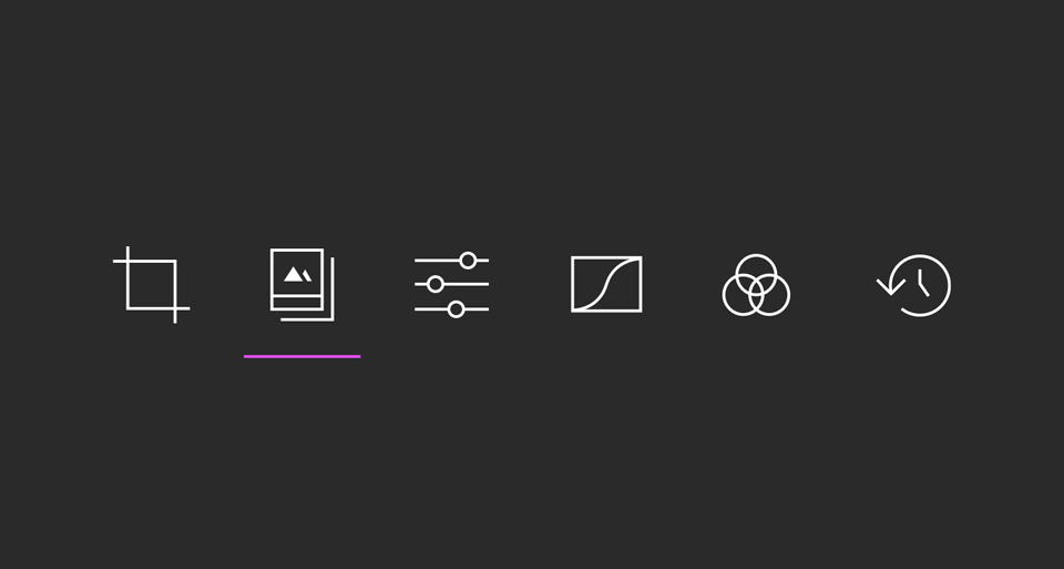 Darkroom App Toolbar Icons